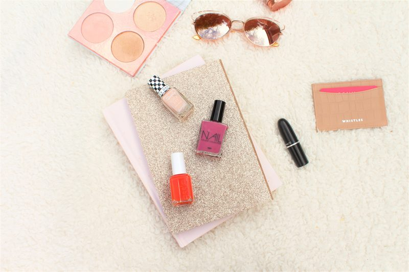 summer nail polish flat lay